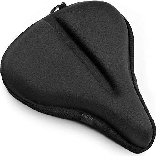 Large Exercise Bike Seat Cushion – 11 inches x 12 inches Soft Bike Gel Saddle Cover - Bicycle Wide Gel Soft Pad - Most Comfortable XXL Bicycle Saddle Cover for Women and Men
