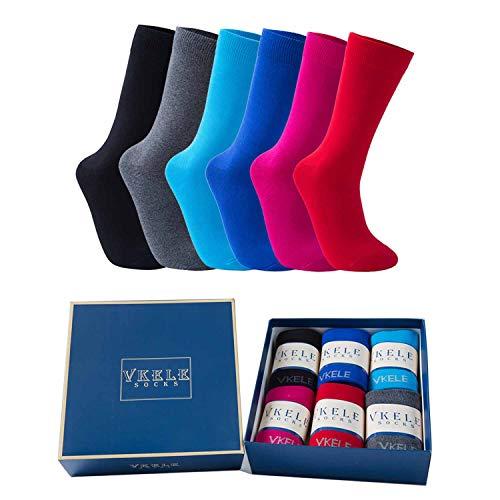 Vkele 6 Paar einfarbige Socken Geschenkpack, kariert, bunt, punkte, gestreift, Business Herrensocken, Crew Socken, Baumwolle, Gr. 39-46, 39-42, Bunt Ⅱ