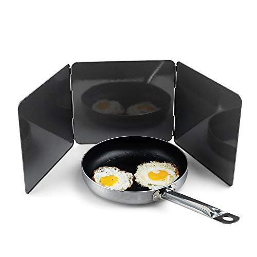 Fox Run Non-Stick 3 Sided Splatter Guard for Stove Top and Frying Pan, 9 x 10.25 inches, Gray Steel