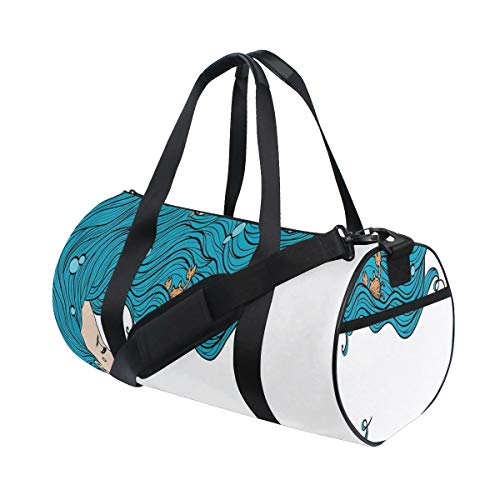HARXISE Bolsa de Viaje,Mermaid Decor Girl Big Hair Hairstyle Fly Away Fairytale Sleeping Crab Imaginary Artwork Decorativo,Bolsa de Deporte con Compartimento para Sports Gym Bag
