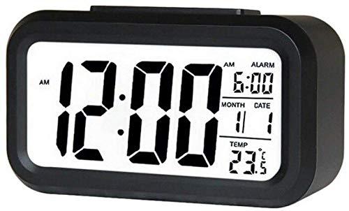 Reloj Despertador Reloj Despertador para Oficina en casa Reloj de Mesa Snooze Reloj electrónico para niños Relojes Digitales de Escritorio LED Negro-Negro