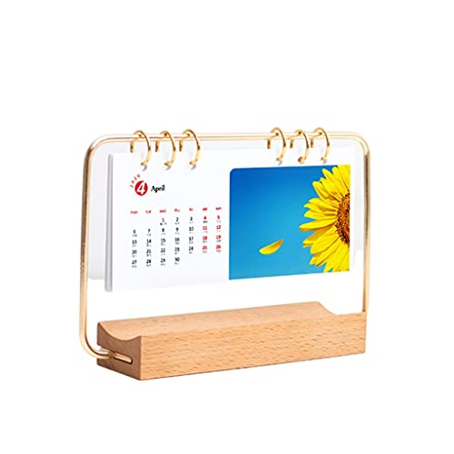 LUYTW Daily Office Metal Desk Calendar Perpetual Wood Vintage Calendar For Home Decor -Monthly Weekly Year Planner Standing Desk Decor Wood Calendar (Color : A)