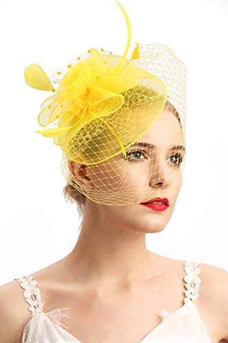 Fascinators Hats 20s 50s Hat Pillbox Hat Cocktail Tea Party Headwear with Veil for Girls and Women(D-yellow)
