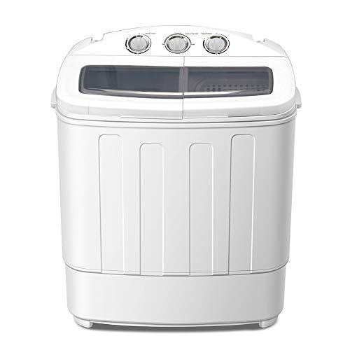 Zerone Machine à Laver Électrique 220V, Mini Lave-Linge avec Sèche-Linge 2-en-1 Lave-Linge à Deux Cuves 50Hz 240 W pour Maison Hôtel Dortoir, Capacité de Lavage de 5 kg