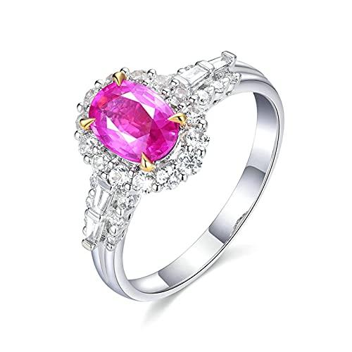 KnSam Anillo de mujer en oro blanco de 18 quilates, anillo de compromiso de oro rosa para mujer con zafiro de 1,03 quilates, diamante blanco