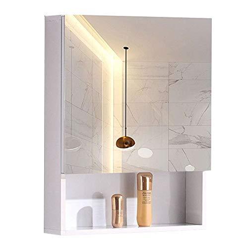 Knipperende lichten Kleine Halve deur Spiegelkast Badkamer Spiegel Vanity Spiegel Met Opbergkast, Locker, Opslagruimte, Space Aluminum, Modern Minimalist