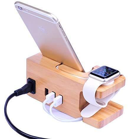 Estación de carga USB de madera de bambú, cargador de escritorio, 3 puertos USB 3.0 Hub, para iPhone 7/7Plus/6s/6/Plus/5s y 38mm/42mm Apple Watch, Samsung y la mayoría de los smartphones (madera)