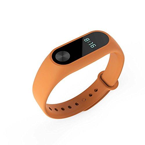 PINHEN Correa para Mi Band 2 - Pulsera de Silicona Banda Suave Multi-Color Recambio Compatible con Xiaomi Mi Band 2 (Mi Band 2 Orange)