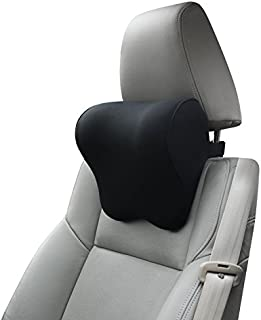 Dreamer Car Pillow for Driving Seat with Adjustable Strap, Balanced Softness Memory Foam Neck Pillow Car Seat Designed to Relieve Neck Pain and Muscle Tension,Black