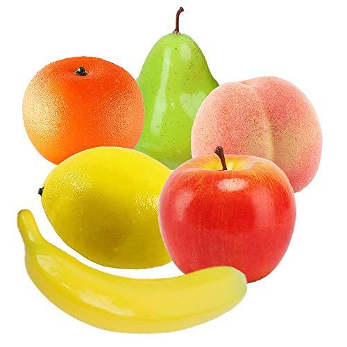 Deko Kunstobst Kunstgemüse Künstliches Obst Deko Dekorative Kuenstliche Apfel Birne Banane Pfirsich Orange Zitronen Kunststoff Früchte zum Zuhause Haus Küche Party Dekoration Festival Anzeige 6 Stück