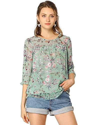 Allegra K Women's Casual Ruffle 3/4 Sleeve Floral Print Chiffon Blouse Medium Green