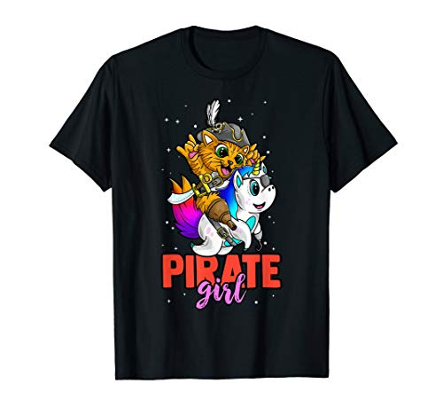 Piratenmädchen Halloween-Kostüm Jolly Roger Kitty Einhorn T-Shirt