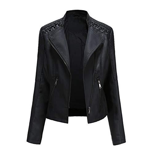 Overdose,Perfecto Femme Noir Cuir Veste Manteau Blouson Grande Taille Hiver Parka Jacket Outwear (34, Vert)