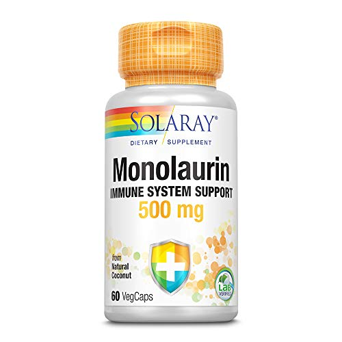 Solaray, Monolaurin 500mg (Glycerylmonolaurat aus Kokosnuss), 60 Vegetarische Kapseln, natürliche Kokusnussquelle