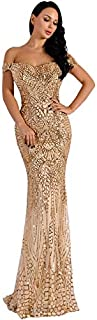 Sexy Dresses for Women, Off-the-shoulder Sequins Slim Sexy Dress for Women, Elegant Pattern Hourglass Super Long Sexy Dresses for Women for Christmas Gifts Bridesmaid (Color : Gold, Size : XL)