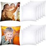 Aneco 12 Pack Sublimation Pillow Cases White Cushion Covers Blanks Pillow Covers Heat Transfer Pillow Covers Polyester Peach Skin Throw Pillow Covers (17.7 x 17.7 inches)