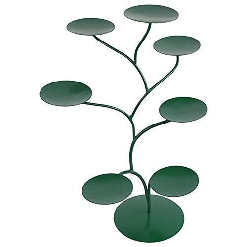 Theelichthouder metaal groen 57 x 35 cm met zeven takken theelichthouder regenboog groen