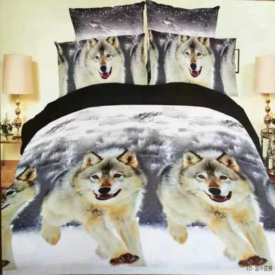 Mdsfe 3d snow wolfking/queen/twin size 3 / 4pcs bedding set of duvet/doona cover bed sheet pillow cases bed linen set - xuezhonggulang, Twin