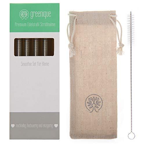 greenique – Premium Edelstahl Strohhalm Set | 4 kurze Strohhalme, wiederverwendbar, für Kinder, Metall, kein Plastik