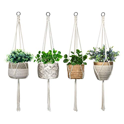 ALLADINBOX 4 Pack Macrame Plant Hanger Indoor Outdoor Hanging Planter Basket Flower Pot Holder for Boho Home Decorations - Cotton Rope,4 Legs,4 Sizes(Plant & Pot NOT Included)