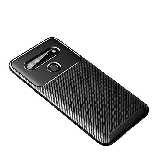 Botongda LG K61 Hülle,Schlankes & weiches stoßfestes Gehäuse Hergestellt aus Silikon & TPU,Mattes rutschfestes Kohlefaser-Schutzetui für LG K61 (Schwarz)