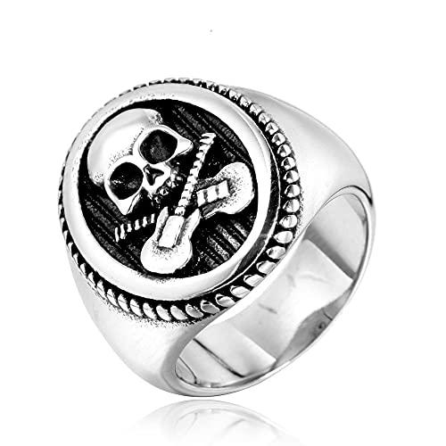 Acero inoxidable Punk Rock gótico calavera doble anillo de guitarra música esqueleto concierto anillo joyería regalo 9 plata