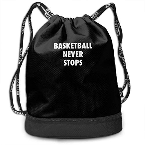 RAINNY Basketball Never Stops Large Drawstring Sport Backpack Sack Bag Sackpack