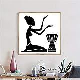 Impresión lienzo Cuadro artístico impreso en lienzo con silueta de mujer africana, póster, cuadros de pared para sala de estar, decoración decorativa para el dormitorio del hogar, sin marco-50x50cm