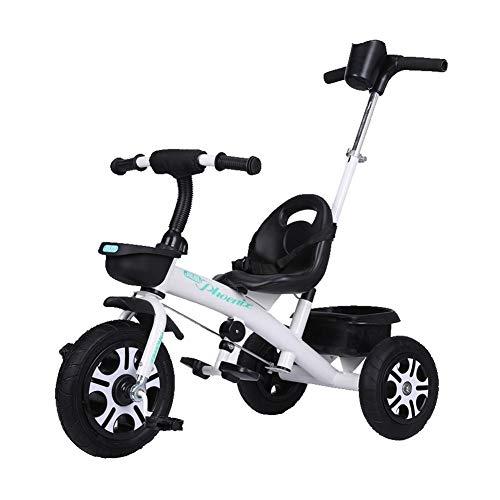 Triciclo niños de la Bici de la Bicicleta 1-6 años de Edad, Hombres y Mujeres de Titanio Regalo de cumpleaños Rueda de vacío Cubo de bebé + Carro de los niños (Color : White)