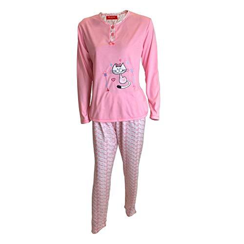 Mini kitten - Schlafanzüge von Lady Frau aus Baumwolle t-Shirt Stickerei Zeichnung Lange Ärmel und Lange Hosen gestempelt/Nachtwäsche