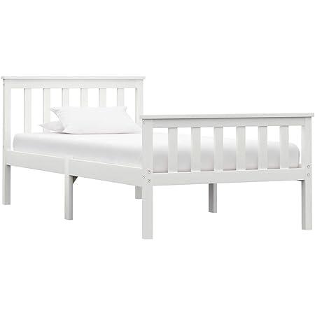 vidaXL Madera Maciza de Pino Estructura de Cama Matrimonio Doble Blanca 100x200 cm Somier Muebles de Dormitorio Habitación
