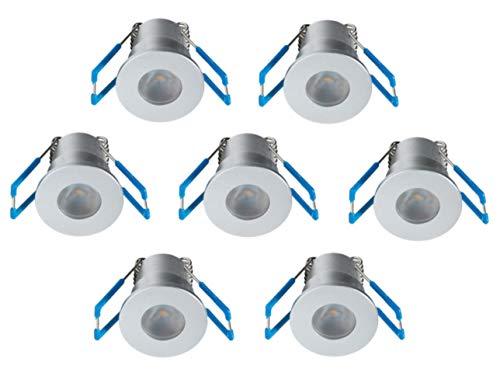 1W LED Mini Einbaustrahler, Aluminium, IP65 Wassergeschützt, 3000K Warmweiß, Dimmbar, Mini-Einbauleuchten für Innen- und Außen, ideal für Terrassendach, Bad, Dusche uvm (Silber, 7er-Set)
