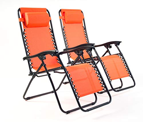 BRAVICH Weatherproof Set of 2 Reclining Sun Lounger | Heavy Duty Textoline Zero Gravity Chairs | Folding Outdoor Reclining Chair in Orange