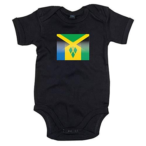 Lo Key Clothing Grenouillère pour bébé Motif drapeau de la Jamaïque et S Vincents - Noir - 6-12 mois