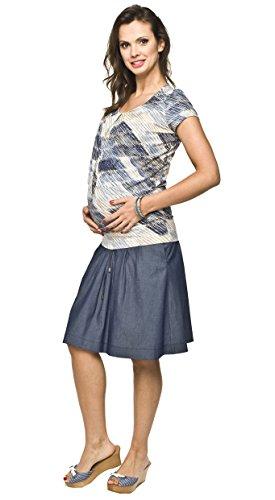 Torelle Umstandsrock, Schwangerschaftsrock VENA, Rock für Schwangere, 100% hochwertige Baumwolle, blau, XL