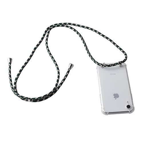 HTC U11 Life Hülle, Gift_Source [Dunkelgrün] Dünn klare TPU Weich Silikon Schutzhülle Handykette Handyhülle Stoßfest Durchsichtige Bumper Necklace Hülle mit Kordel zum Umhängen für HTC U11 Life (5.2