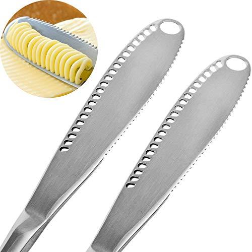 OurLeeme 2PCS Cuchillo esparcidor de mantequilla de acero inoxidable, Profesional 3 en 1 Cuchillo de mantequilla rizador con borde dentado