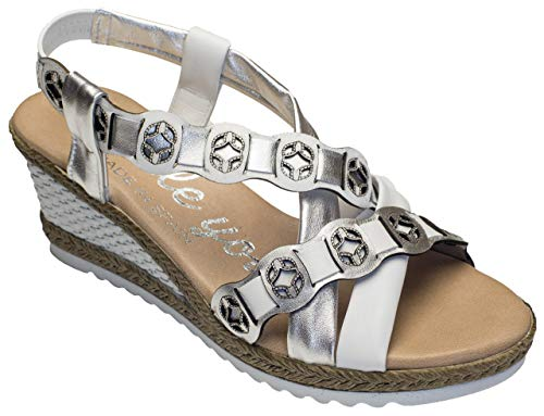 Double You by Dessy Damen Sandalen Cabra Blanco Plata (40 EU)