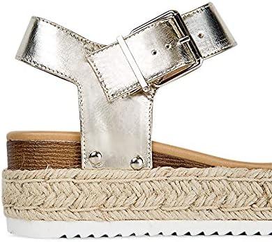 J. Adams Sahara Sandals for Women - Open Toe Ankle Strap Wedge Heel Espadrilles