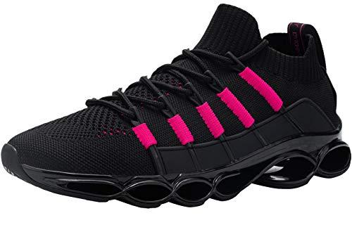 DYKHMILY Sicherheitsschuhe Herren Damen Stahlkappe Arbeitsschuhe Leicht Atmungsaktiv Sportlich Schutzschuhe Antishock rutschfest Sneaker (Schwarzes Pink,41 EU)