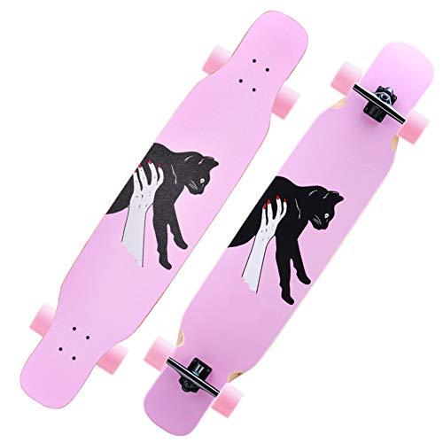 ROYWY Longboard Skateboard Drop Through Cruiser Komplettboard mit Mach1 High Speed Kugellager T-Tool mit und ohne LED Rollen/B