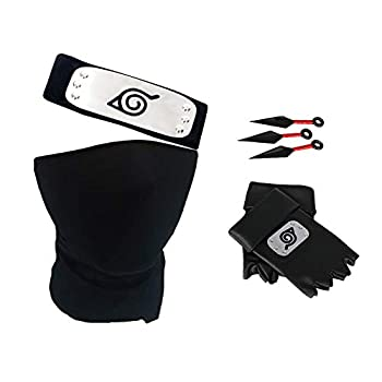 Naruto Headband Set Naruto Cosplay Gloves Kakashi Face Cover Kunai Leaf Village Ninja Naruto Cosplay Anime Accessories  3PC-A