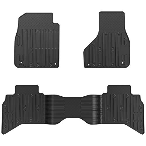 OsoTorero Floor Mats for 2013-2017 Dodge Ram 1500 2500 3500 Crew Cab, Unique Black TPE All-Weather Guard Includes 1st and 2nd Row: Front, Rear, Full Set Liners