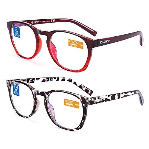 Computer Reading Glasses Blue Light Blocking Glasses Women Men 2 Pack(+2.0) …