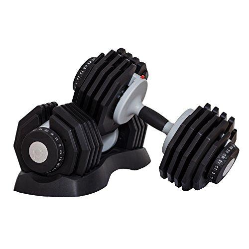 Profihantel DialTech Hantelsystem von 2,5 bis 25kg, schnell verstellbar & platzsparend, Anti-Rutsch-Griff, 10 Hanteln in 1, Lieferumfang: 2 Hanteln und 2 Ablageschalen (ohne Ständer)