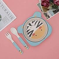 安全で環境にやさしい食器、ボウル、赤ちゃんの子供のための遅い熱伝導3個(zebra, Three-piece suit)
