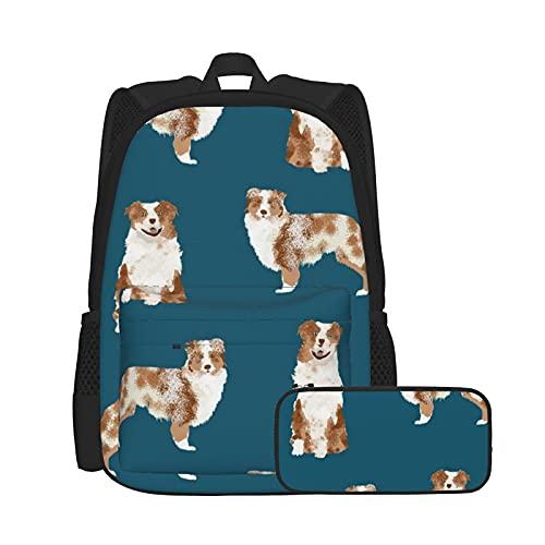 Set zaino casual e astuccio per computer portatile e astuccio combinato, zaino da lavoro e studio e borsa cosmetica combinazione Pastore Red Merle Dog Simple Navy