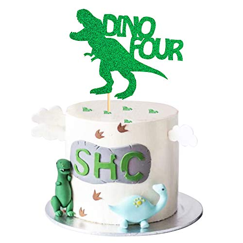 Unimall Dinosaur Four Rex Cake Topper Green Glitter Jurassic Park T-Rex 4 Cake Picks Cake Decoration for 4th Boy Birthday Kids Party Supply Decoration