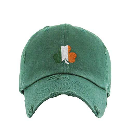 Irish Shamrock Vintage Baseball Cap Embroidered Cotton Adjustable Distressed Dad Hat Hunter Green