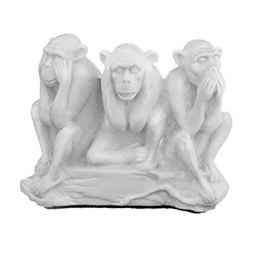 "danila-souvenirs Piedra Decorativa de mármol Figura Estatua Escultura Ver, Escuchar, Speak No Evil Tres Monos sabios 4.7""Color Blanco"